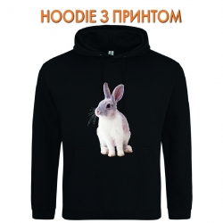 Худи с принтом White and grey rabbit черный