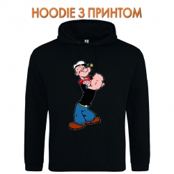 Худи с принтом Popeye the Sailor Powerfull черный
