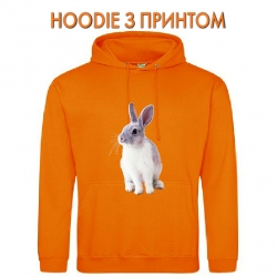 Худи с принтом White and grey rabbit оранжевый