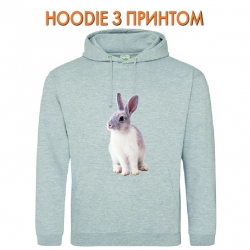 Худи с принтом White and grey rabbit серый