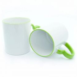 Cups with light green handle-heart