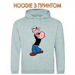 Худи с принтом Popeye the Sailor Powerfull серый