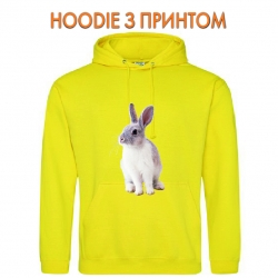 Худи с принтом White and grey rabbit желтый