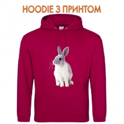 Худи с принтом White and grey rabbit красный