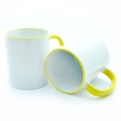 Cup with a yellow handle and a rim