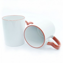 Cups with red heart-shaped handle