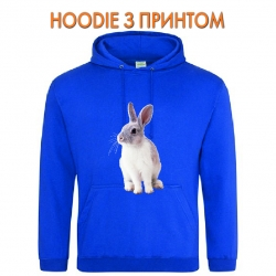 Худи с принтом White and grey rabbit голубой