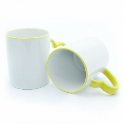 Cups with a yellow handle-heart