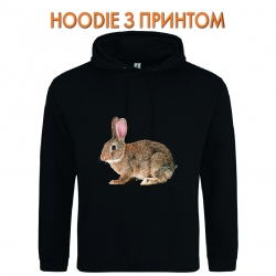 Худи с принтом Grey wild rabbit черный